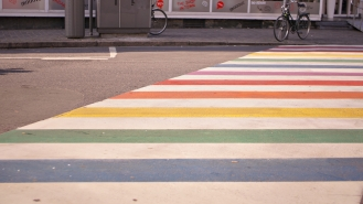 rainbow crosswalk in antwerp